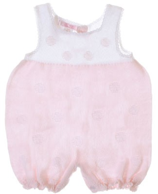 Sophie Dess Sleeveless White/Pink Knitted Romper w/ Dots