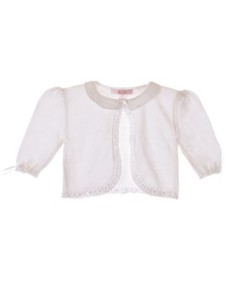 Sophie Dess White Knitted Cardigan w/ Ribbon Trim