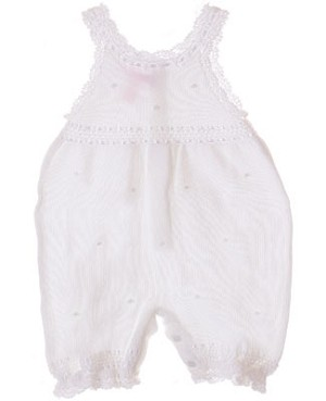 Sophie Dess Sleeveless White Knitted Romper w/ Ribbon Trim