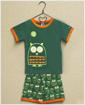 Sozo 2pc Teal Green Owl Shorts Jammies *GLOW IN THE DARK*