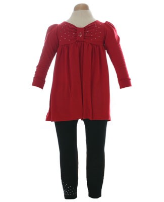 II: Stella Industries Red Bow Yoke Dress and Black Rhinestone Leggings
