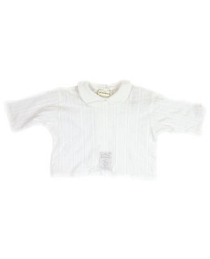 Newborn: Miniman White Collared Shirt (subtle inset stripes)