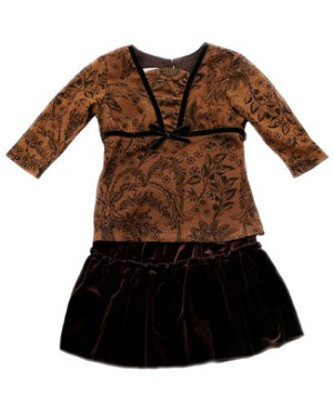 4y II: P.S. Carmel Macchiato Tiered Skirt Set