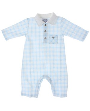 Sweet Potatoes Blue Plaid Polo Romper