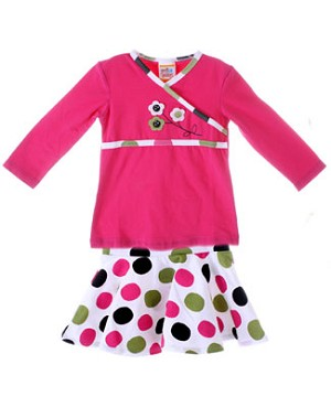 Sweet Potatoes *Panda Kimonium* Fuchsia Wrap Tunic & Multi Dotted Skirt Set