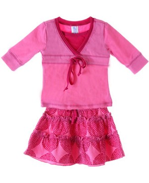 Sweet Potatoes *Flip!* Pink Front Tie Tee & Pink Tiered Skirt w/ Dots Set
