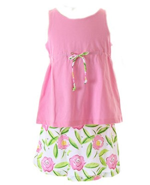II: Sweet Potatoes *Flip* Pink Drawstring Waist Tank And Floral Skirt