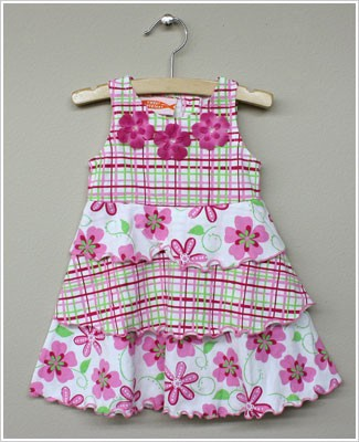 Sweet Potatoes *Honolulu Lulu* Pink/Green Plaid & Floral Print Tiered Sleeveless Dress