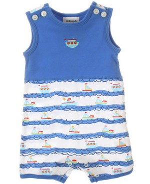 Sweet Potatoes *Harbor Master* Blue/White Sailboat Romper