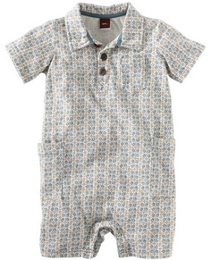 Tea Blue/Orange Print S/S Agung Polo Romper
