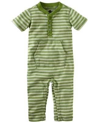 Tea Green S/S Raya Stripe Romper