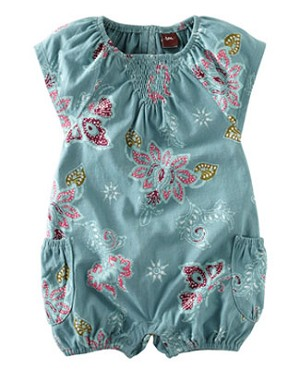 Tea Teal S/S Lotus Batik Bubble Romper