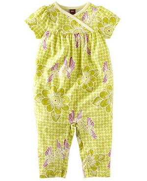 Tea Lime Green S/S Wrap Neck Starling Batik Romper