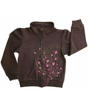 Tomat Brown Hearts Zip Up Jacket