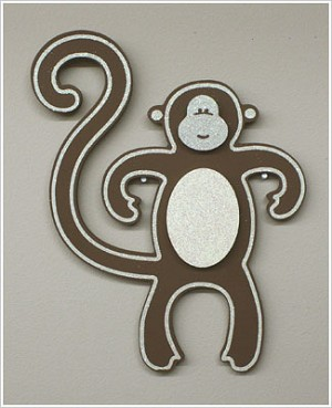 Z: Sparkle Brown Wooden Monkey Shape *Wall Decor*
