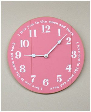 Z: 14 Inch Pink Wooden Wall Clock *I love you to the moon and back*