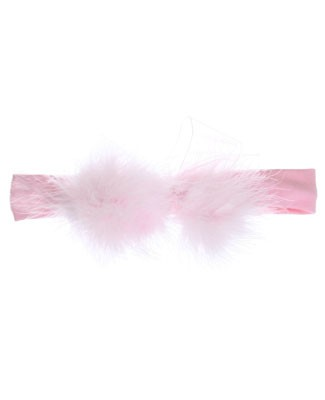 II: Wee Ones Toddler Headwrap w/ Marabou Bow *PINK & WHITE*