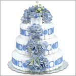 ~ Bloomers *Blue Hydrangeas w/ Blue Circles* Baby Diaper Cake