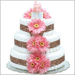 ~ Bloomers *Hot Pink Daisies w/ Leopard Trim* Baby Diaper Cake