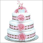~ Bloomers *Pink Mums w/ Pink Dots* Baby Diaper Cake