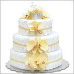~ Bloomers *Yellow Orchids w/ Natural Raffia* Baby Diaper Cake