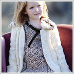 Kate Mack Cream Knitted Snap-Up Sweater w/ Faux Leopard Fur Collar
