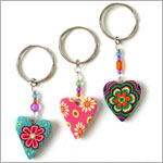 Ganz Colorful Heart Key Ring *Many Colors!*