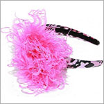 Z: Pink/Black Leopard Print Hot Pink Curly Marabou Hard Headband