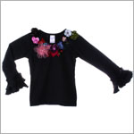Kaiya Eve Black L/S Floral Couture Top w/ Jewels & Sequins