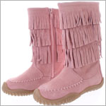 Z: L'Amour PINK Fringe Boots w/ Side Zipper
