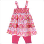 Little Maven Orange/Pink Circle Print Woven Dress & Pink Legging Set