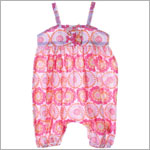 Little Maven Orange/Pink Circle Print Woven Romper