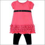 Little Maven S/S Pink Drop Waist Dress & Black Legging Set