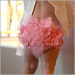 Ruffle Butts Pink Woven Ruffle Diaper Cover w/ Pink Bow